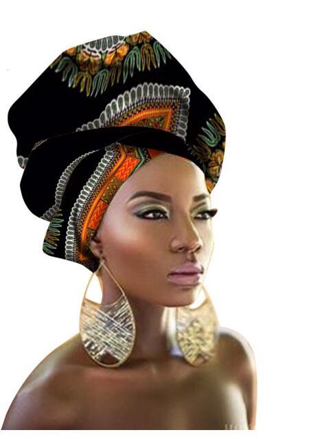2018 nuevo diseño de estilo pañuelo largo de la bufanda de la cabeza Headcover mujeres turbante chal Warp pelo africano Headwrap Q039 * NUEVO *