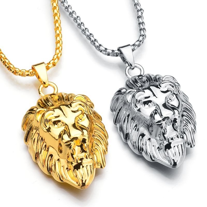 Frigaro Chain Hiphop Lion Head Pendant Necklace For Men Women Jewelry Iced Out Hip Hop Silver Gold Long Necklaces ...