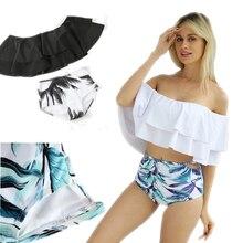 цена на 2019 New Sexy High Waist Bikini Off The Shoulder Swimwear Women White Ruffle Bikinis Cut Out Swimsuit Tankinis Women Two Piece