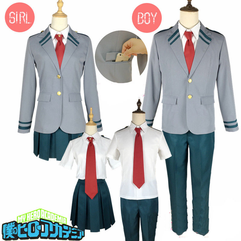 2019 high quality My Hero Academia Bakugou OCHACO Todoroki Asui Shool Uniform Set Cosplay Costume Jacket + pants/skirt+ tie