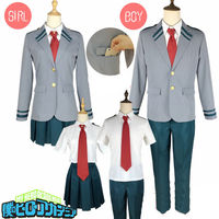 2019 high quality My Hero Academia Bakugou OCHACO Todoroki Asui Shool Uniform Set Cosplay Costume Jacket + pants/skirt+ tie