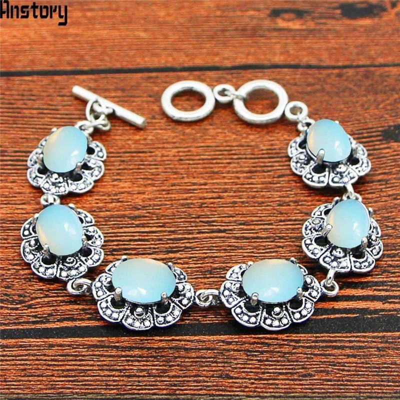 Oval Transparent Opal Flower Bracelet Vintage Look Antique Silver Plated Fashion Jewelry TB345