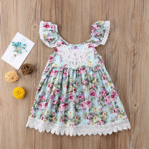 Kids Toddler Baby Girl Dress Baby Girl Cute Sleeveless Floral Dress Lace Tulle Wedding Dress Baby Clothing