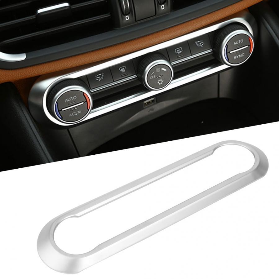 1 Pcs Mitte Klimaanlage Einstellung Rahmen Trim Aufkleber ABS Chrome Fit für Alfa Romeo giulia Stelvio 2017 Auto Styling