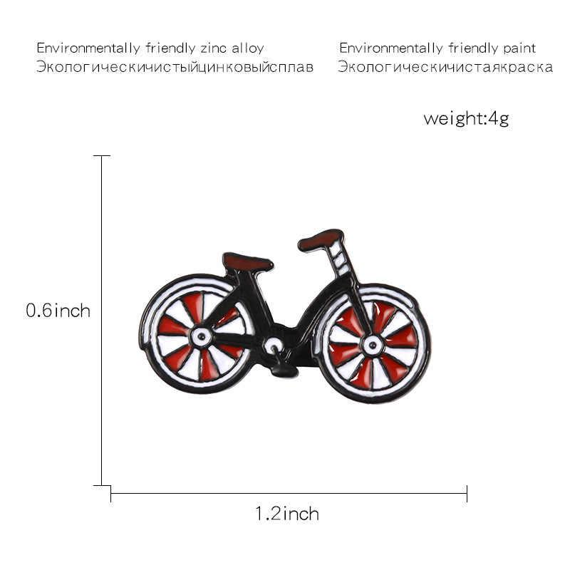 Sitaicery Merah Sepeda Pin Sepeda Bros Keren Vintage Gaya Pengendara Sepeda Lencana Olahraga Kerah Pin Bersepeda Perhiasan Biker Hadiah Aksesoris