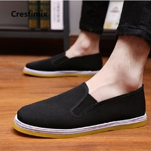 Cresfimix male casual plus size black cloth work shoes men cool comfortable spring & summer slip on shoes retro cool shoes a2877