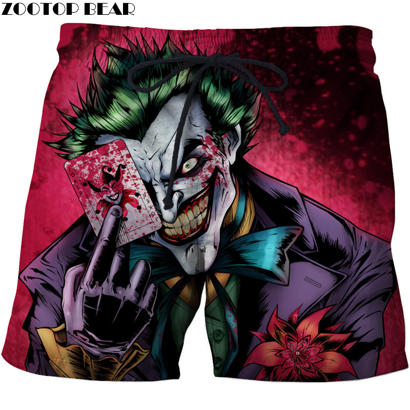 Clown Men T-Short Summer Surfing Beach Straight Tight Shorts Bodybuilding Breathable Fitness Male Quick Dry Pants Gyms 3D print