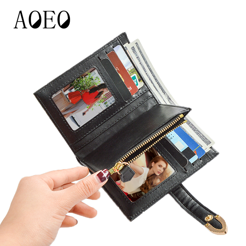 AOEO Small purses& wallets Mini For Girls Independent Zipper Coin Purse Smooth Leather Double Photo Holder Women wallet Female aoeo plaid women purse small wallets mini bag soft leather double photo holder zipper coin purses ladies slim wallet female girl