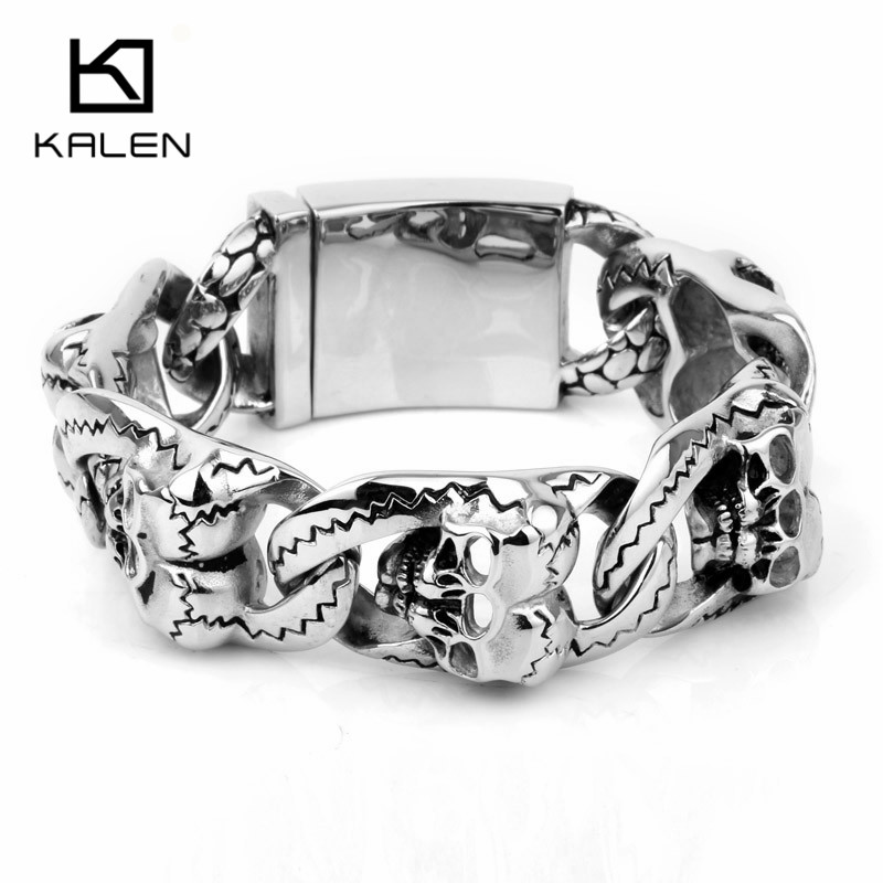 Kalen New 316 Stainless Steel Heavy Chunky Link Chain Men's Bracelets Punk Rock Double Skull Head Charm Bracelets Wholesale Gift trustylan cool stainless steel dragon grain bracelets men new arrival punk rock keel mens bracelets