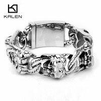 Kalen New 316 Stainless Steel Heavy Chunky Link Chain Men's Bracelets Punk Rock Double Skull Head Charm Bracelets Wholesale Gift