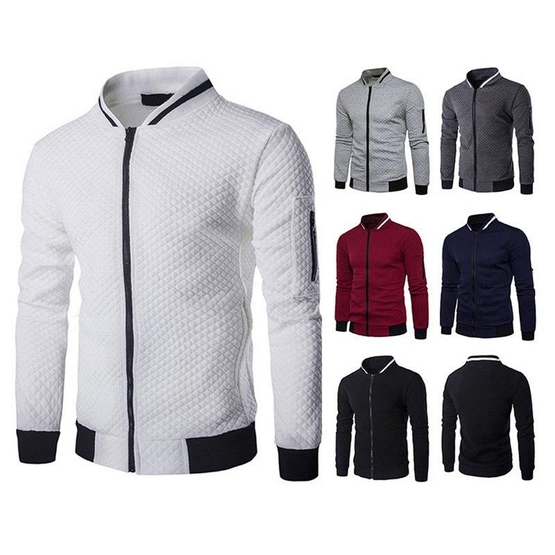 Clothing Coat Jacket Streetwear Zipper Bodybuilding Sport Long-Sleeve Slim Autumn White