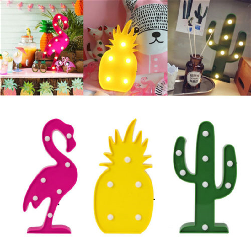 Led Flamingo Night Light Marquee Sign Star Cactus Table Lamps Romantic 3D Wall Moon Lamp Kids Children Gift Home Desk Decor