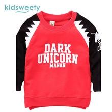 Kidsweety Kids Sweatshirts 2017 Spring Boys Cotton Long Sleeve T-Shirt Letter Pullover Print Hoodies Straight Kids Sweatshirts