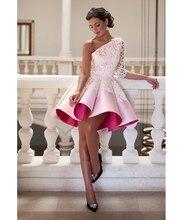 2016 Mode eine Schulter rosa Cocktailkleider Kurze Abendkleid Ballkleid Spitze Party Kleider Abend Dess