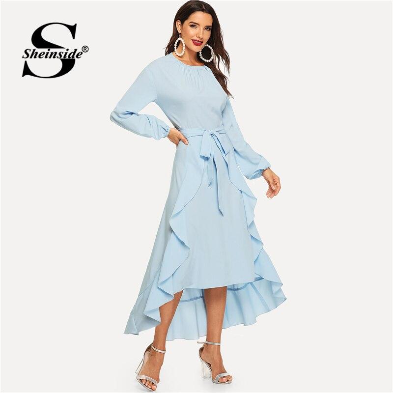 Elegant ชุดเดรสสำหรับสุภาพสตรีชุดยาว ส่วนลดครั้งสุดท้าย ฤดูใบไม้ผลิสีน้ำเงินไม่สมมาตร