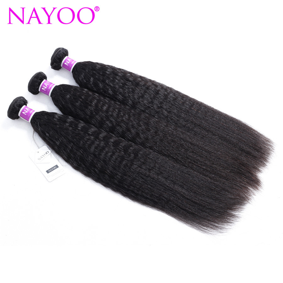NAYOO Malaysia Human Hair 3 Bundles 100g/Piece Malaysia Kinky Straight Hair Weaving Natural Color 100% Remy Hair Bundles