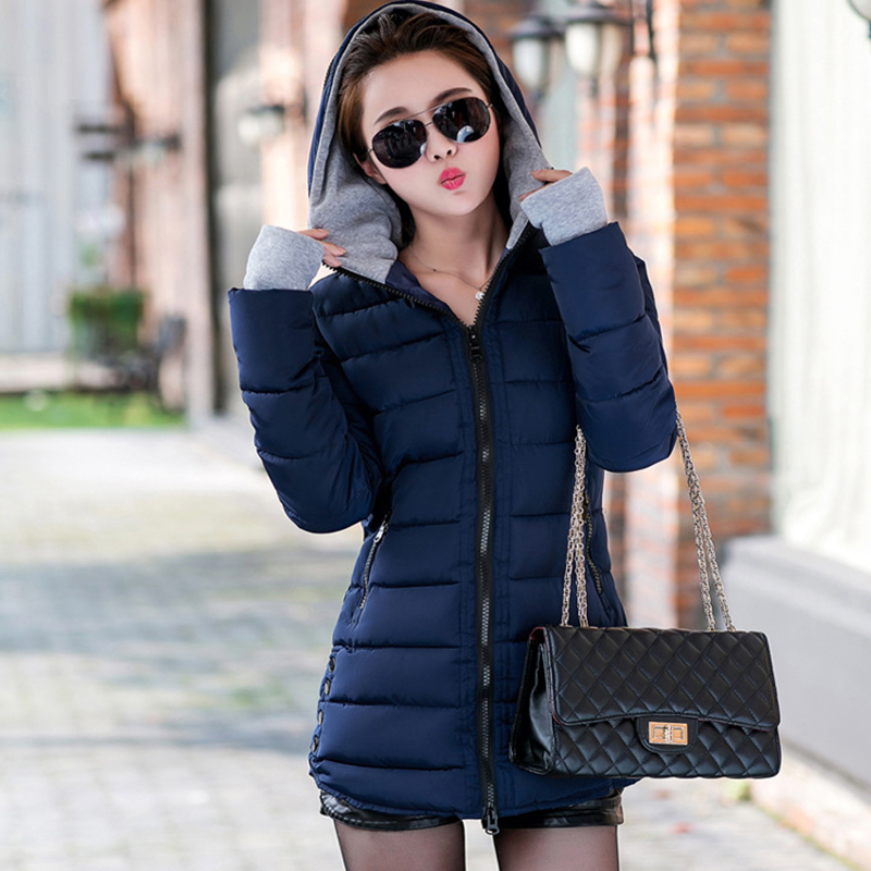 2018 women winter hooded warm coat slim plus size candy color cotton padded basic jacket female medium-long  jaqueta feminina 1
