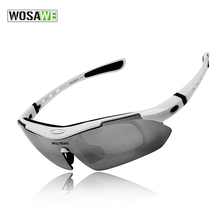 WOSAWE Polarized Cycling Glasses Outdoor Sports Bicycle Glasses Bike Sunglasses TR90 Goggles Cycling Eyewear 5 Lens White