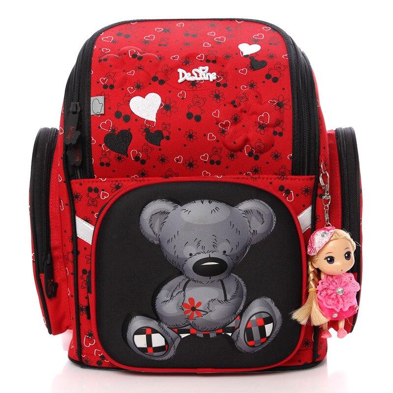 Delune детей школьные сумки для девочек 3D медведь Цветочный принт школьный портфель Водонепроницаемый ортопедический Рюкзак Mochila Escolar