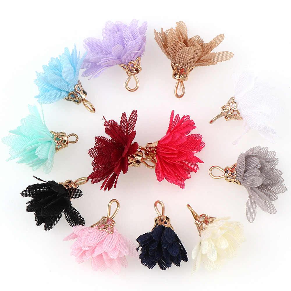 10~30pcs mixed Types Tassel Findings Flower Silk Polyester Charms Pendant Drop Earring Tassel for Jewelry DIY Graft Making