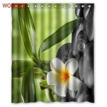 WONZOM Stone Leaf Modern Polyester Flower Waterproof Accessories Shower Curtains For Bathroom Fabric Bath Curtain With Hooks