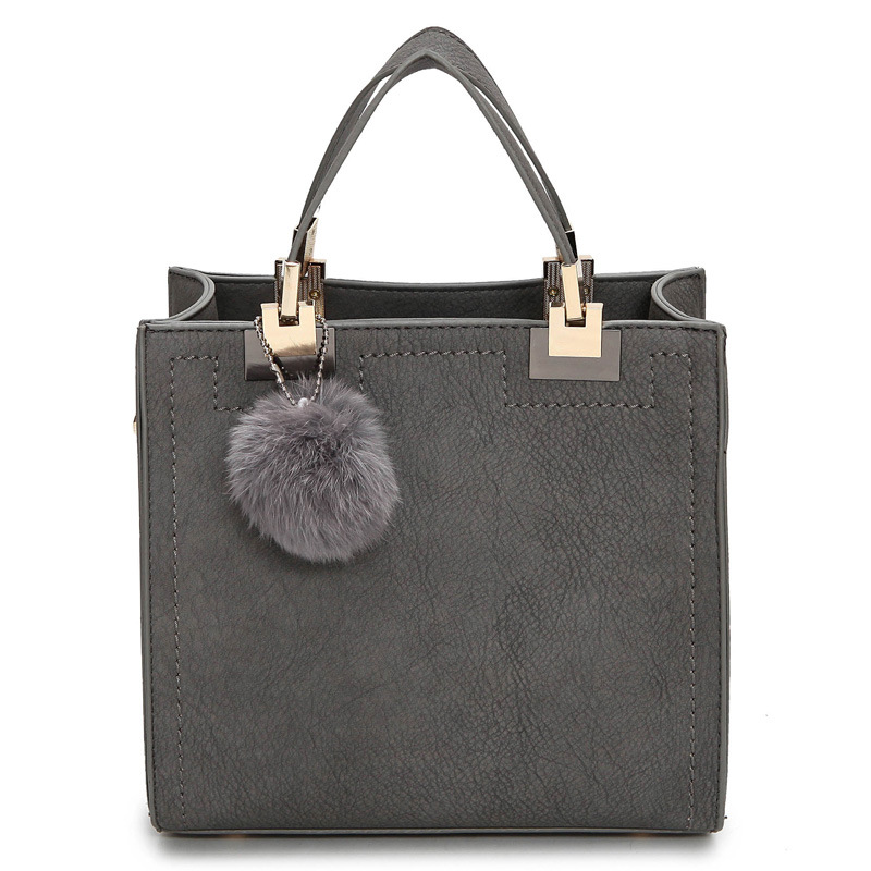 NEW HOT SALE handbag women casual tote bag female large shoulder messenger bags high quality PU leather handbag with fur ball hot sale 2016 new fashion women girls winter warm wallet high quality tote bag card pack small hairy bag handbag