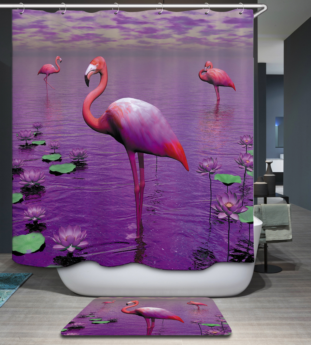 Homing 3D Purple Sky Flamingo Pattern Polyester Waterproof Mildew Resistant Shower Curtain Modern Bathroom Bath Curtain