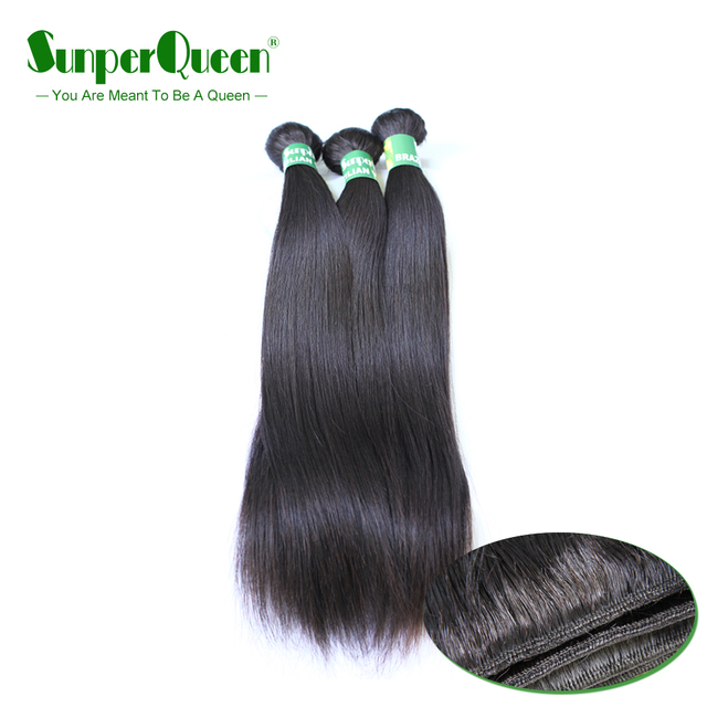 8A Sunper Queen Hair 3 piezas pelo humano recto brasileño paquetes cabello virgen tejido Color Natural envío gratis