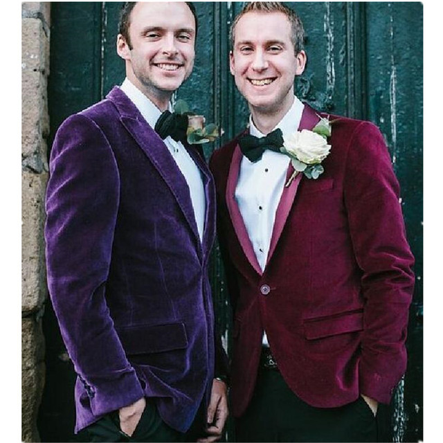 Модные мужские мужчины бархат дружки свадебные куртки пальто пользовательские партии танец