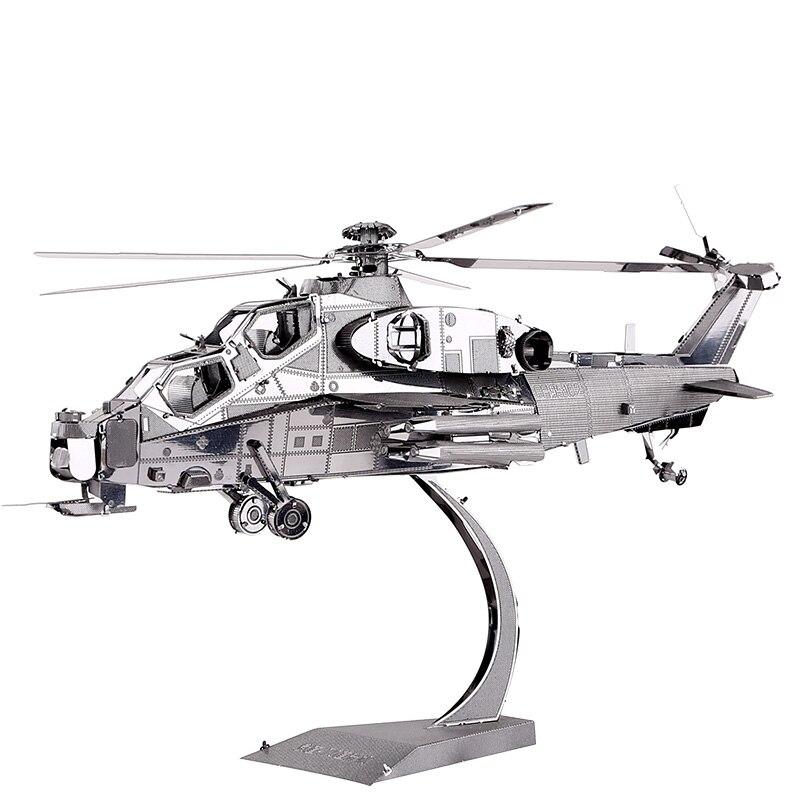 Пиецецоол Вузхи-10 хеликоптер уради сам 3д метални нано пуззле састави модел сетове П048-С ласерско изрезане играчке