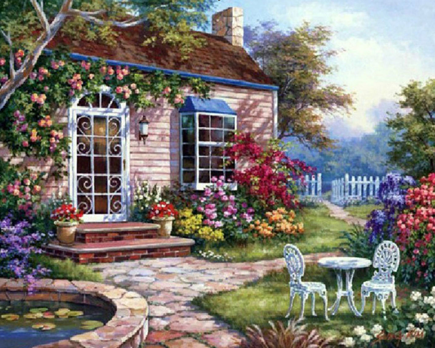 5d diy diamond painting cross stitch beautiful garden houses crystal needlework diamond embroidery full diamond decorative - Beautiful Garden Pictures Houses