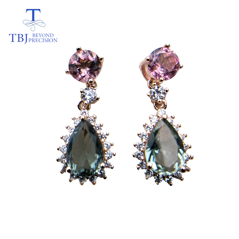 TBJ,new natural water drop multicolor tourmaline gemstone Shiny earring 925 sterling silver jewelry for women as birthday gift