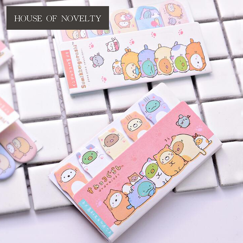 Wonderful Sumikko Gurashi Memo Pad N Times Sticky Notes Escolar Papelaria School Supply Bookmark Label colorful guestbook gradient color memo pad n times sticky notes escolar papelaria school supply bookmark label