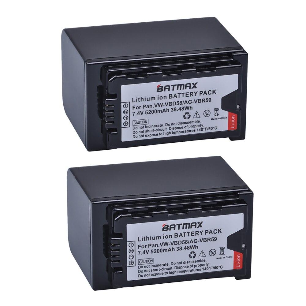 2 pièces VW-VBD58 VBD29 VBD58 VBD78 Batterie pour Panasonic AJ-HPX260MC, HPX265MC, PX270, PX280MC, PX285MC, PX298, AG-FC100, DVX200, HC-X1000
