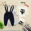 4sets/lot Clothing Sets  Gentleman Tie Suits LOVELY Cat T-shirt For Baby Infant Kids Boys Wholesales B347