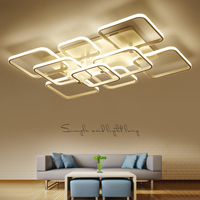 Square Circel Rings Chandelier For Living Room Bedroom Home AC85 265V Modern Led Ceiling Chandelier Lamp
