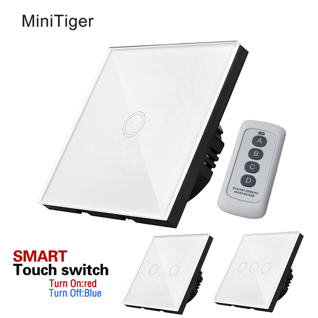 Wall Switch, Touch Switch,1 Gang/2Gang/3Gang One way Touch Screen ...