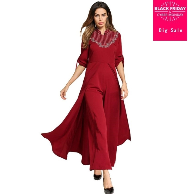 f0c5a8d51cb Muslim Adult embroidery beading jumpsuit with swing Abayas Ropa Mujer  Muslim abaya Female Prayer Islamic abaya Dress Wj2172