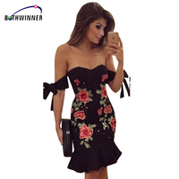 Bothwinner Summer High Quality Dress Women Black Sexy Off Shoulder Embroidery Party Dresses Rose Applique Elegant
