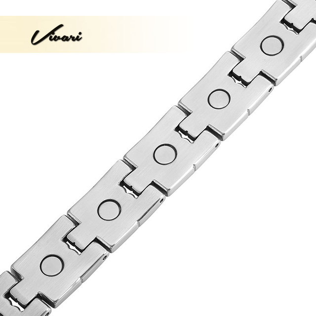 Vivari 2017 Silver Color Stainless Steel Magnetic Bracelet For Men 2-Tone Ionic Plating Fashion Charm Wristband Jewelry Bangle