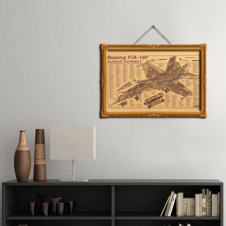 geekoplanet.com - Boeing F/A-18F Hornet Strike Fighter Mechanical Map Kraft Paper Poster