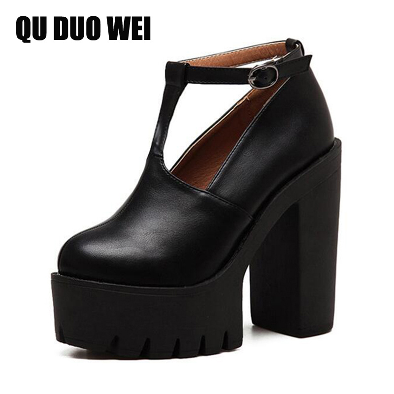 ФОТО Autumn Black Women Pumps Spring 2017 New Round Toe Platform Office Shoes High Heels Woman Soft Leather Russian Style Size 35-39