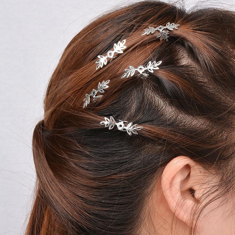 Sexemara Silver Hairpins Jewelry-Accessories Leaf Decoration Gold-Plant Trendy Girls