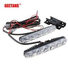 GEETANS 2PCS LED 12V 6000K Car Daytime Driving Running Light High Beam Low Beam DRL Fog