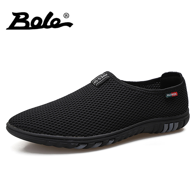 BOLE Summer Mesh Breathable Casual Shoes Men Slip on Fashion Sneakers Light Weight Comfortable Casual Shoes Size 36-44 pinsen fashion women shoes summer breathable lace up casual shoes big size 35 42 light comfort light weight air mesh women flats