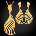 U7 dubai joyas de oro amarillo plateado sistemas de la joyería de nueva moda en forma de abanico pendientes collar set para las mujeres s153