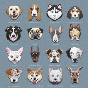 1PC labrador doberman mopshond dog embroidered patches for clothing on clothes iron on patch applique cute stickers for clothes(China)