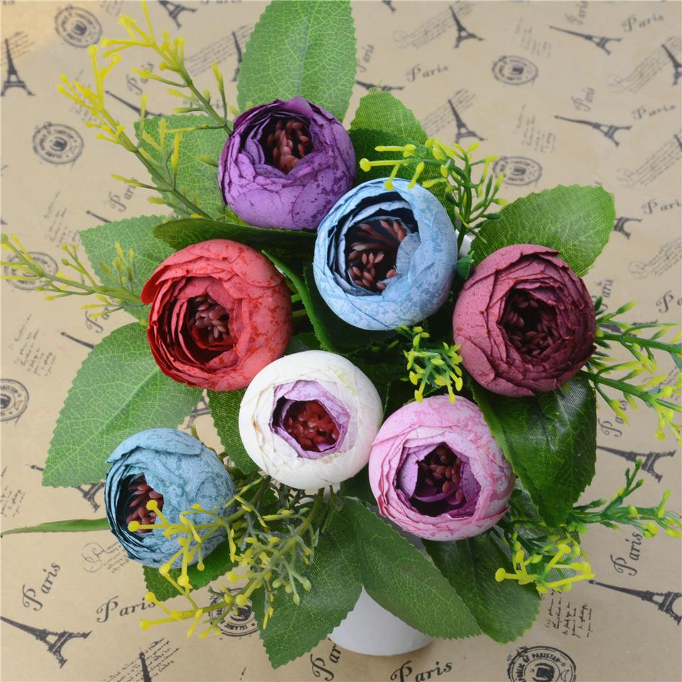 5pcs Spring Silk Mini Small Tea Bud Artificial Flower For Wedding Home Decoration Camellia Mariage Flores Satmen Flowers Plants