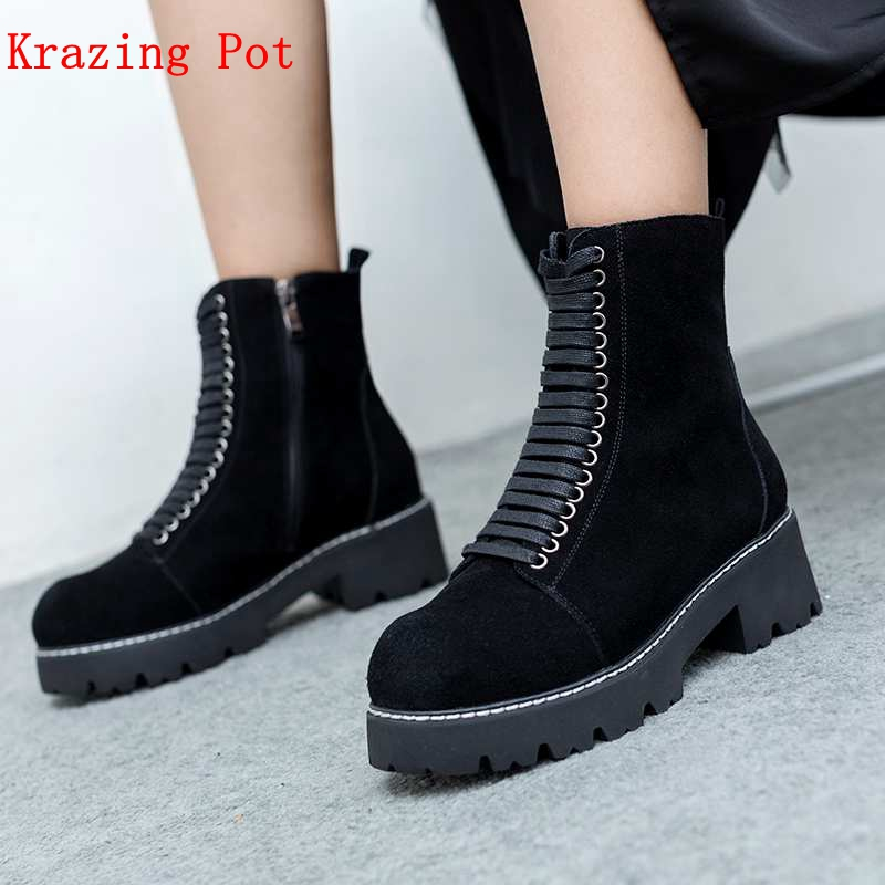 Krazing Pot 2018 cow suede round toe lace up women ankle boots rivets beading superstar office lady cross-tied winter shoes L7f6 krazing pot winter kid suede cow leather patch work high heel basic boots winter zipper round toe office lady ankle boots l12