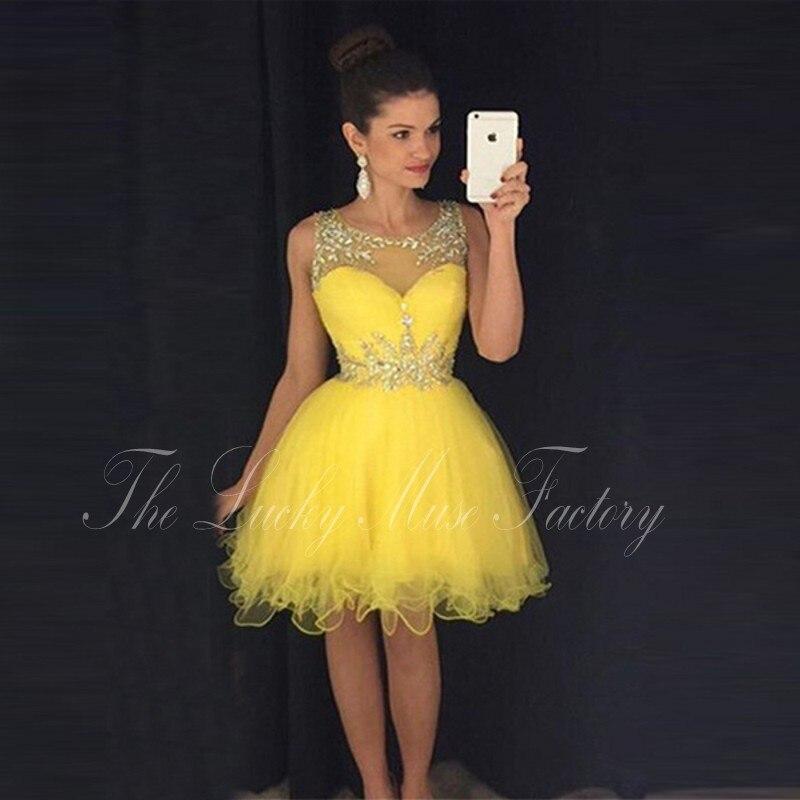 Vestidos De Fiesta Cortos Elegantes 2017 Sheer Neck Crystals
